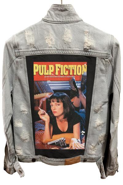 Jaqueta Jeans Destroyed Cru Pulp Fiction