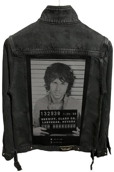Jaqueta Jeans Destroyed Preta Jim Morrison
