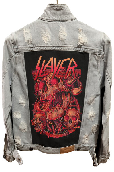 Jaqueta Jeans Destroyed Cru Masculina Slayer