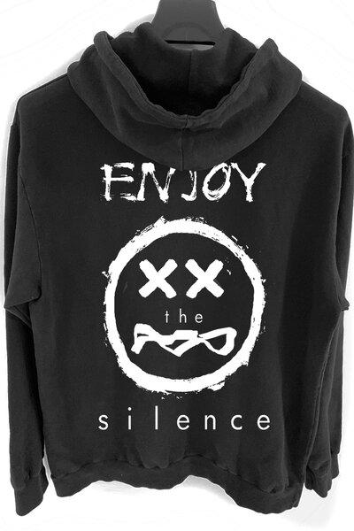 Blusa de moletom preto Enjoy (Estampa Branca)