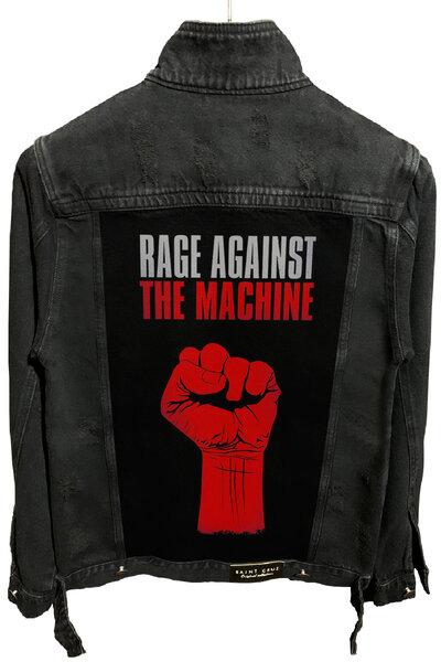 Jaqueta Jeans Destroyed Preta Masculina Rage Against