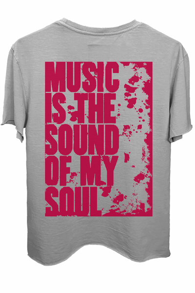 Camiseta estonada cinza clara My Soul (Estampa magenta)