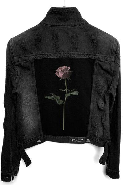 Jaqueta Jeans Destroyed Preta Feminina Rose