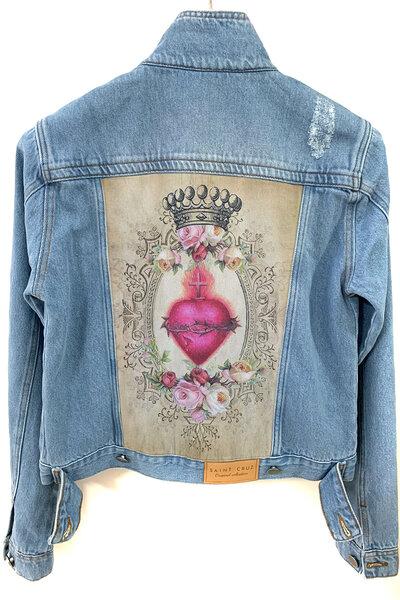 Jaqueta Jeans Destroyed Tradicional Feminina Heart