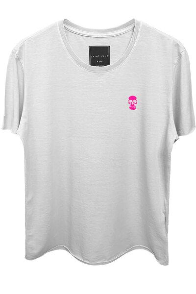 Camiseta branca Skull (Rosa)