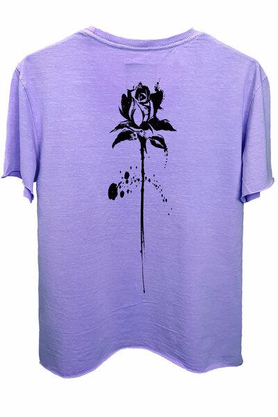 Camiseta estonada lilás Abstract Black Rose