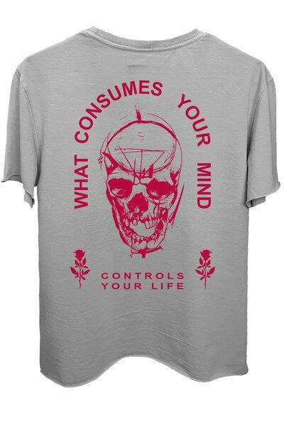 Camiseta estonada cinza clara Controls Magenta