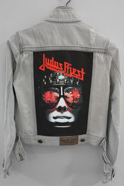 Jaqueta Jeans Rock Destroyed Cru Feminina Judas Priest