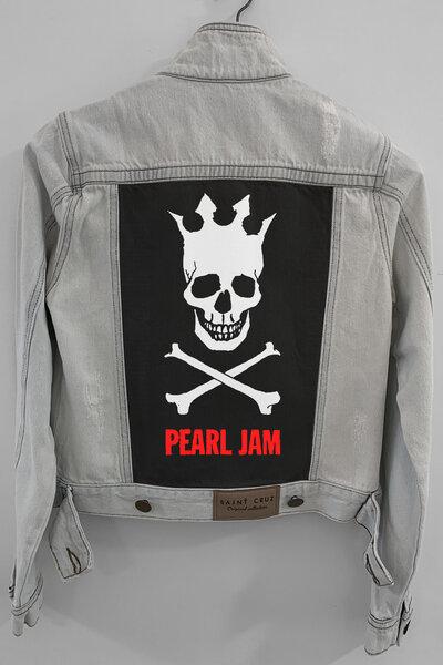 Jaqueta Jeans Rock Destroyed Cru Feminina Pearl Jam