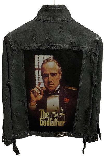 Jaqueta Jeans Destroyed Preta The Godfather