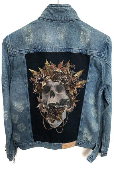 Jaqueta Jeans Destroyed Tradicional Masculina Gold Skull