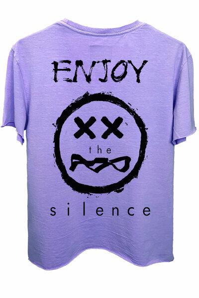 Camiseta estonada lilás Enjoy