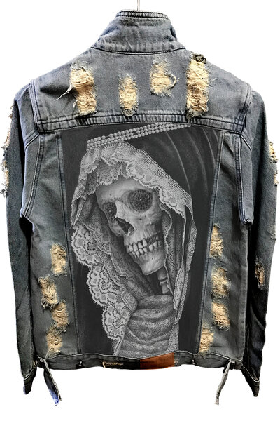 Jaqueta Jeans Destroyed Tradicional Madre Skull