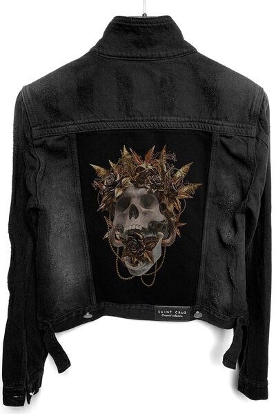 Jaqueta Jeans Destroyed Preta Feminina Gold Skull