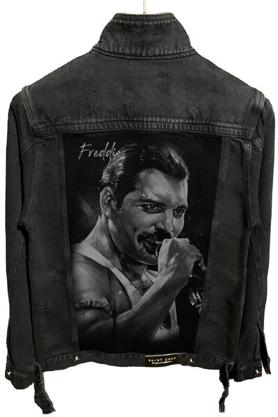 Jaqueta Jeans Destroyed Preta Masculina Freddie