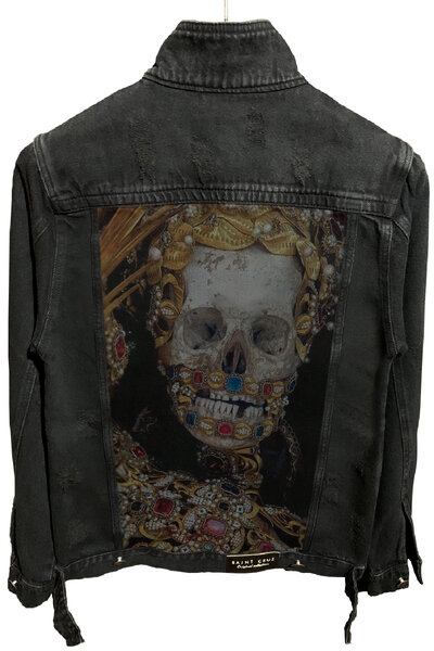 Jaqueta Jeans Destroyed Preta King Skull
