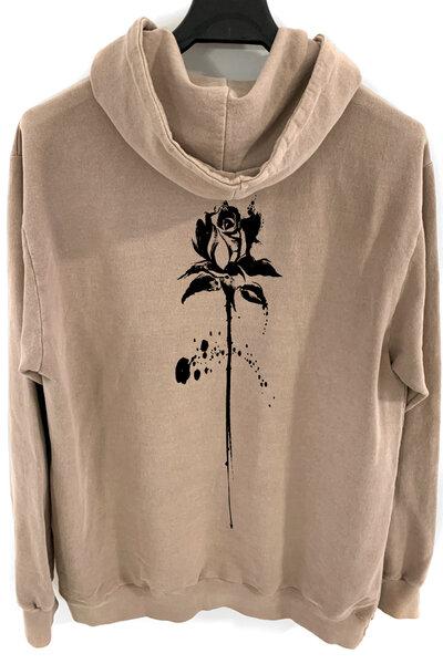 Blusa de moletom estonado castanho Abstract Black Rose