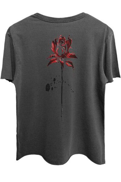 Camiseta estonada chumbo Abstract Rose