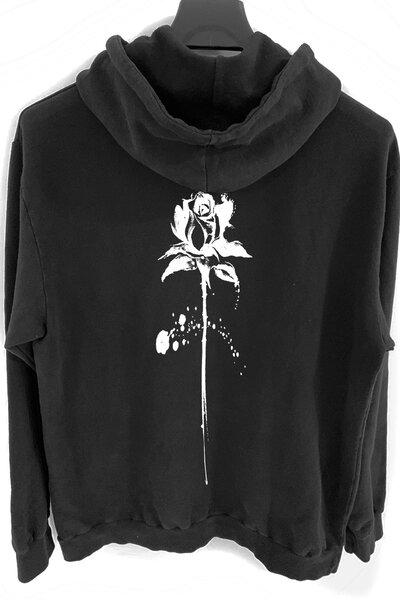 Blusa de moletom preto Abstract Black Rose (Estampa Branca)