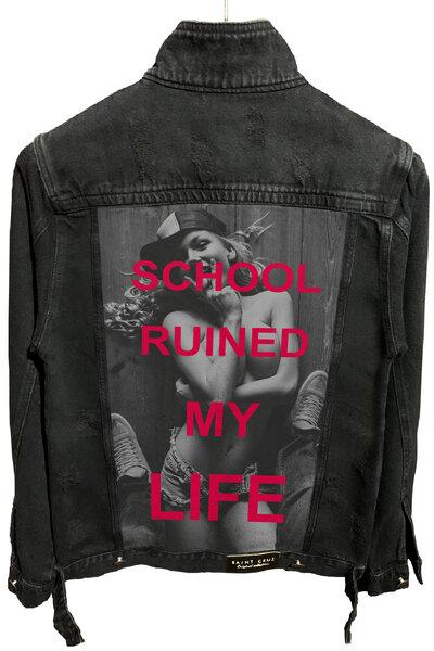 Jaqueta Jeans Destroyed Preta School