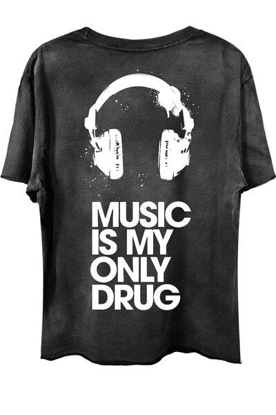 Camiseta com bolso preta Drug