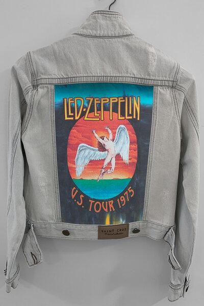 Jaqueta Jeans Rock Destroyed Cru Feminina Led Zeppelin Tour