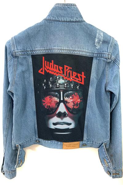 Jaqueta Jeans Destroyed Tradicional Feminina Judas Priest