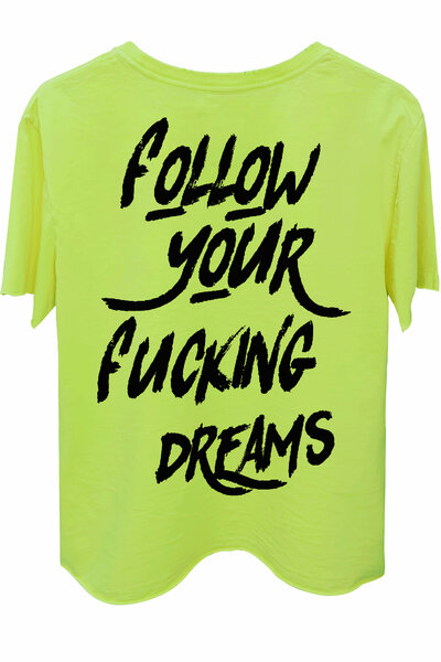 Camiseta estonada amarela Dreams (Back)