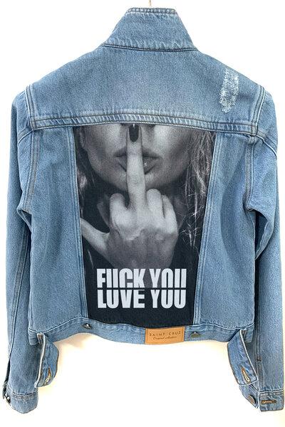 Jaqueta Jeans Destroyed Tradicional Feminina Love You