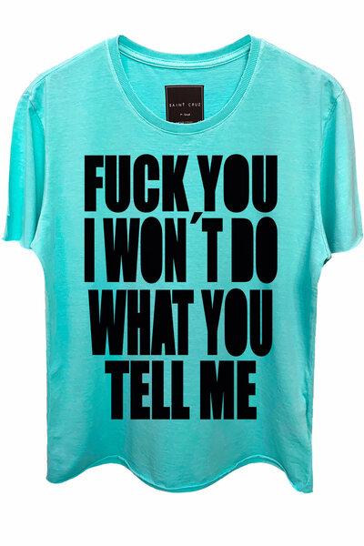 Camiseta estonada azul água Tell Me (Front)