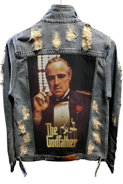Jaqueta Jeans Destroyed Tradicional The Godfather