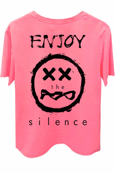 Camiseta estonada rosa Enjoy