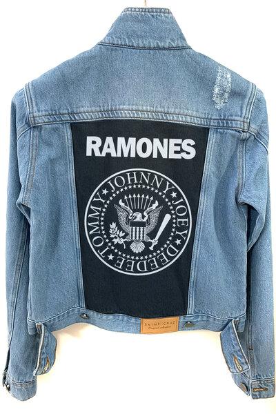 Jaqueta Jeans Rock Destroyed Tradicional Feminina Ramones