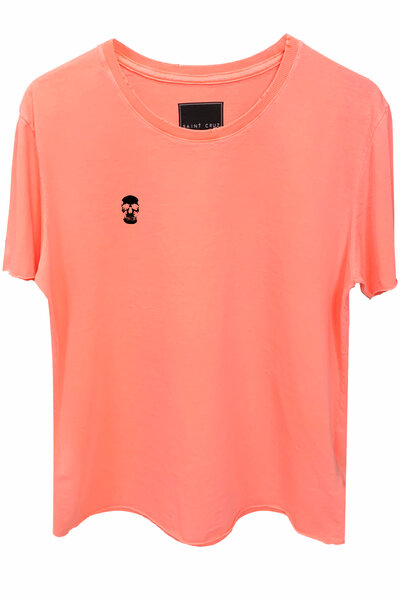 Camiseta estonada laranja Skull