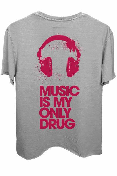 Camiseta estonada cinza clara Drug (Estampa magenta)