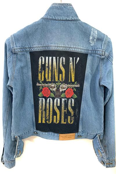 Jaqueta Jeans Rock Destroyed Tradicional Feminina Guns and Roses