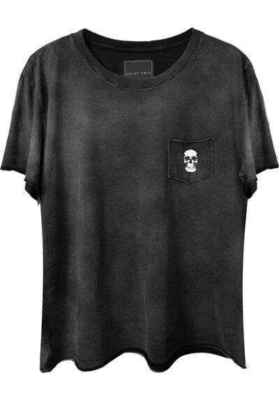 Camiseta com bolso preta Skull (front)