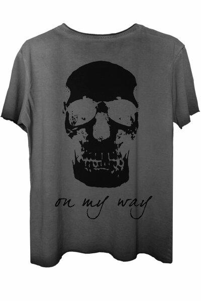 Camiseta estonada cinza On My Way (Back)