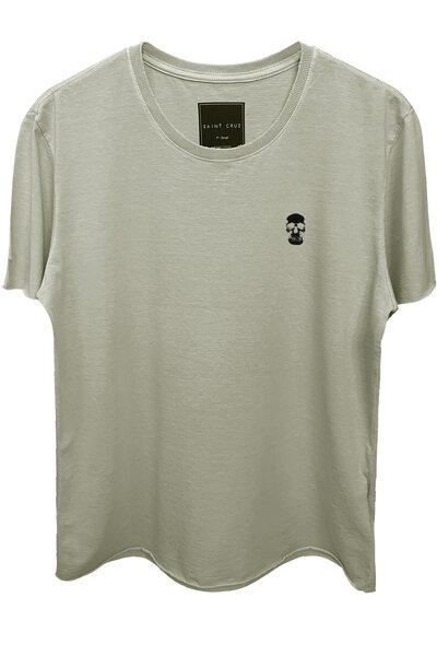 Camiseta estonada cinza clara Skull
