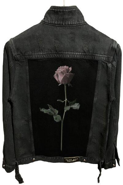 Jaqueta Jeans Destroyed Preta Masculina Rose
