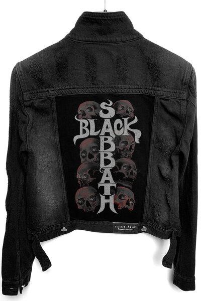 Jaqueta Jeans Destroyed Preta Feminina Black Sabbath Skull
