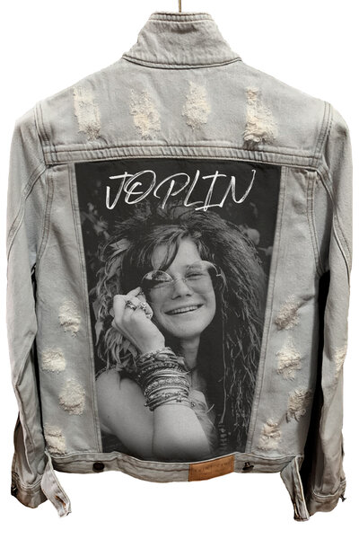 Jaqueta Jeans Rock Destroyed Cru Masculina Janis Joplin