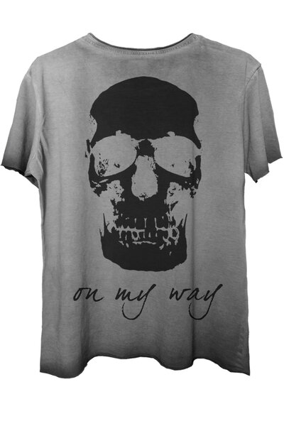 Camiseta estonada cinza On My Way (Back)
