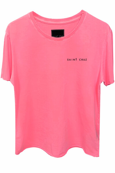 Camiseta estonada rosa Tell Me (Back)