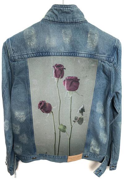 Jaqueta Jeans Destroyed Tradicional Masculina Flowers
