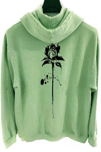 Blusa de moletom estonado verde Abstract Black Rose