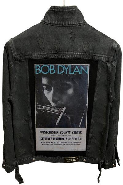 Jaqueta Jeans Rock Destroyed Preta Masculina Bob Dylan