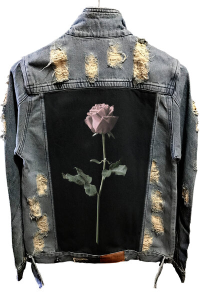 Jaqueta Jeans Destroyed Tradicional Rose