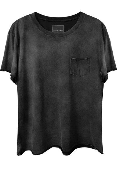 Camiseta com bolso preta Used Stripes