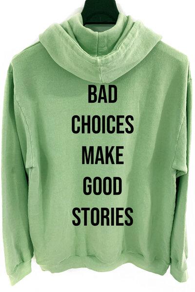 Blusa de moletom estonado verde Bad Choices